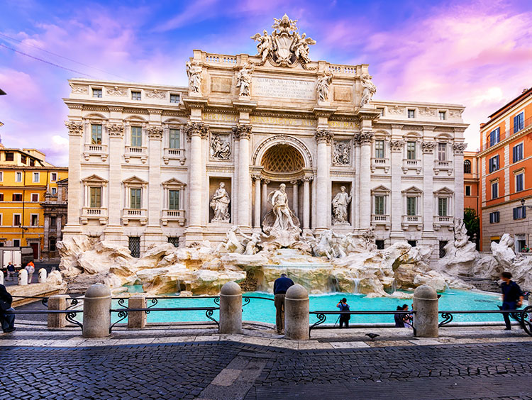 Trevi Fountain Sunset Rome