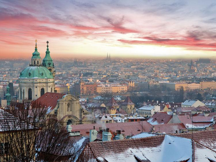 Prague Skyline Winter