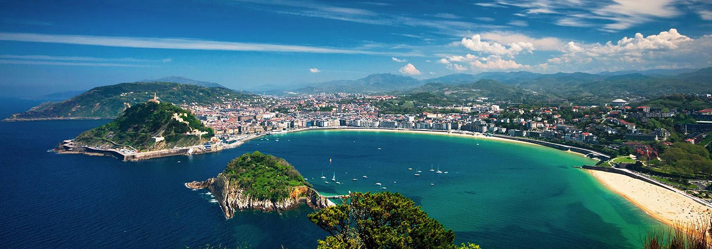 Aerial view of a beach in San Sebastian, Spain
