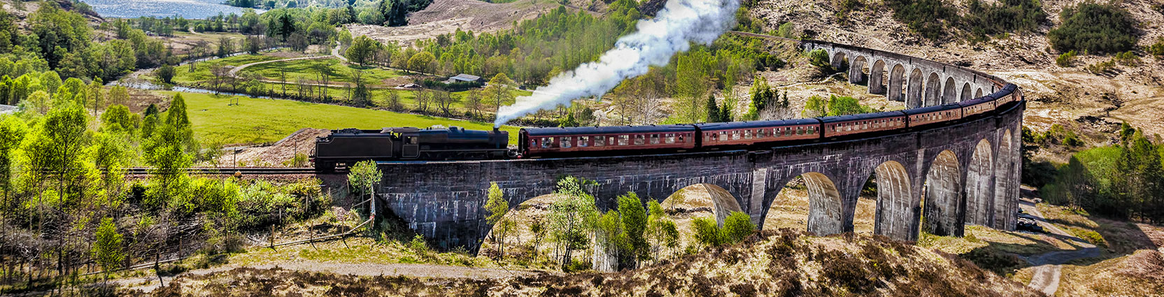 A train on Scotland's Glenfinnan Viaduct.