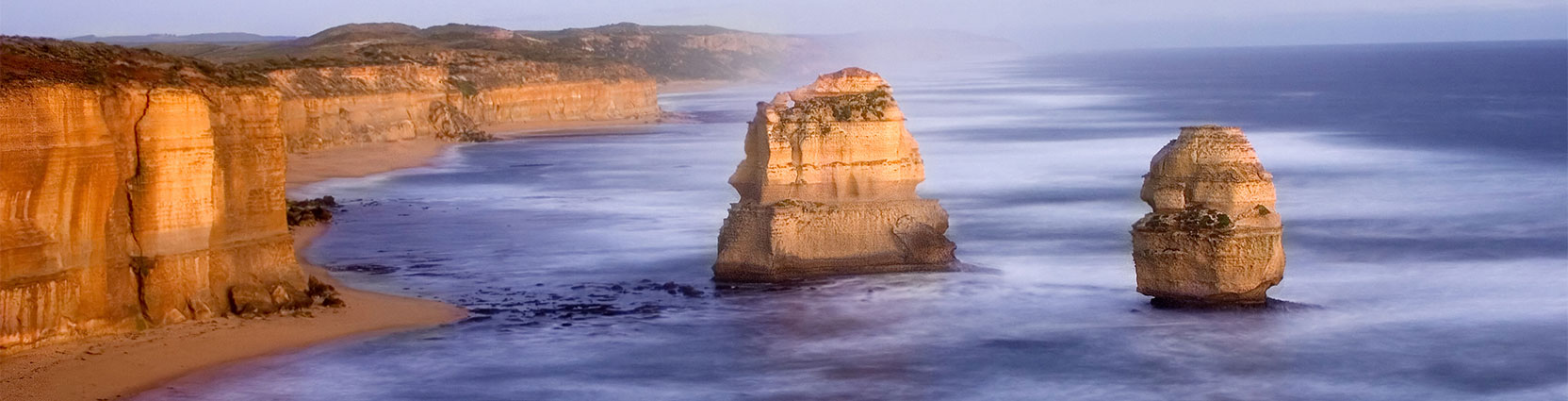 The limestone stacks of Australia's Twelve Apostles.