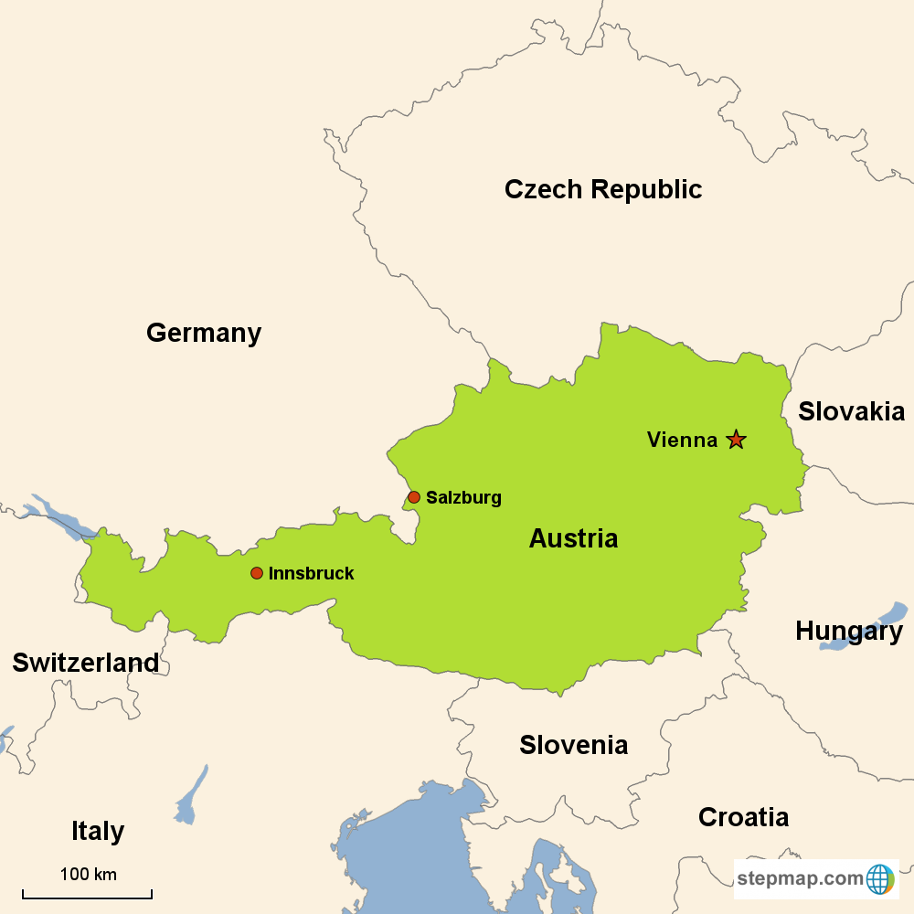 Map of Austria in Europe