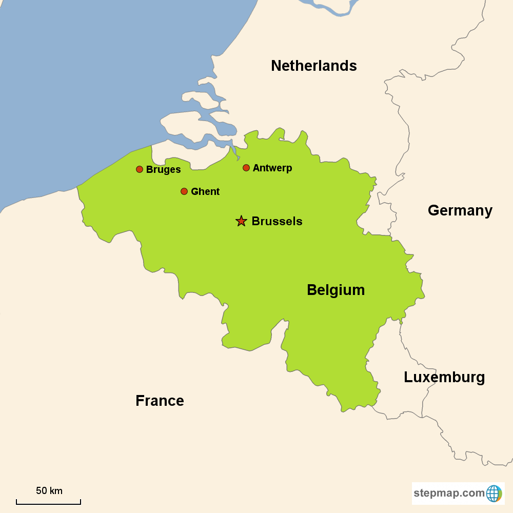 Map of Belgium in Europe