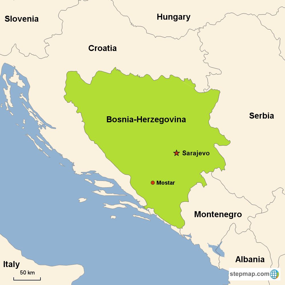 Map of Bosnia-Herzegovina in Europe