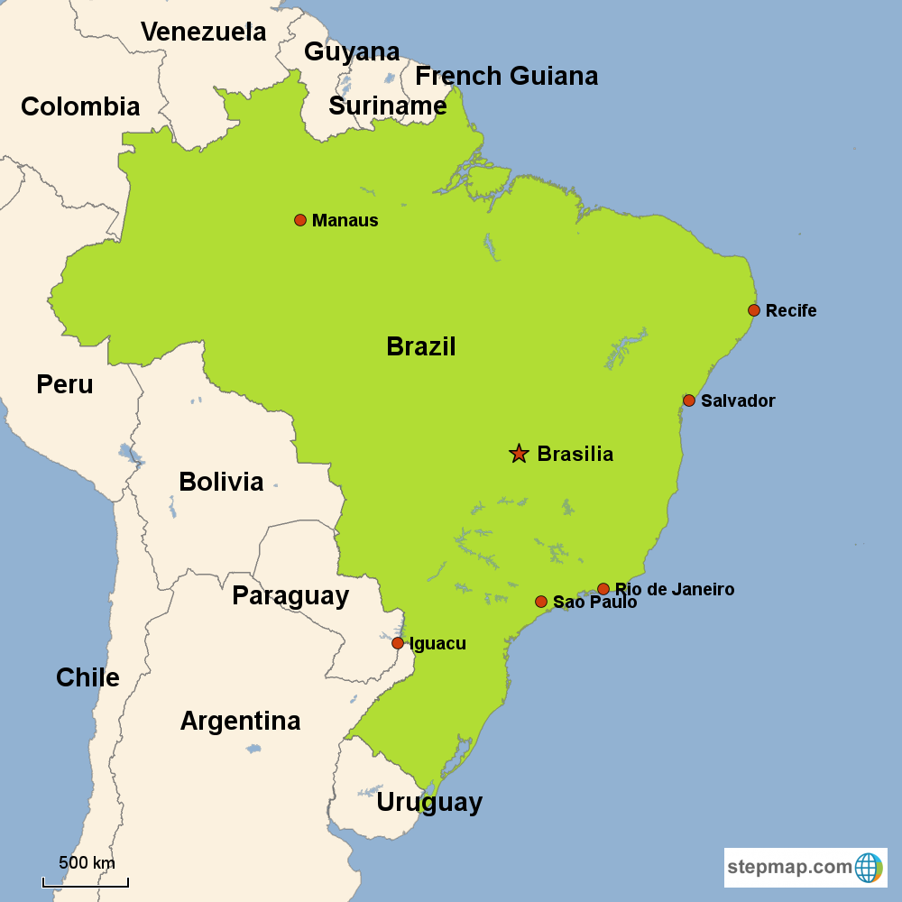 Map of Brazil in South America