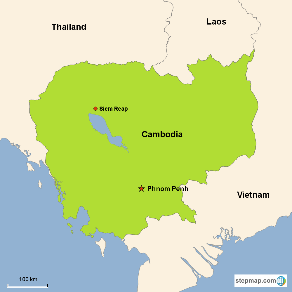 Map of Cambodia in Asia