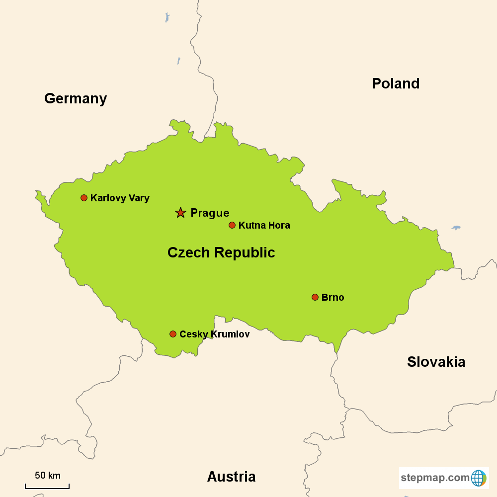 Map of Czech Republic in Europe