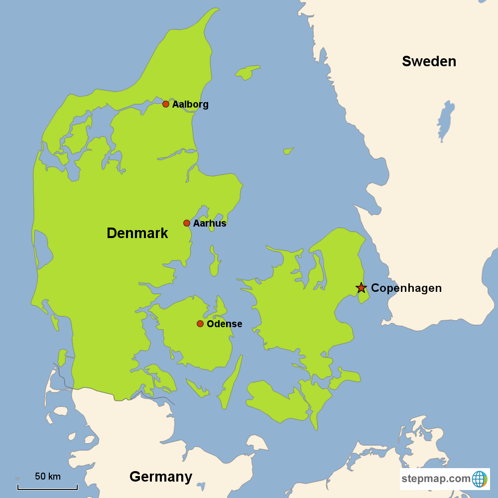 Map of Denmark in Europe