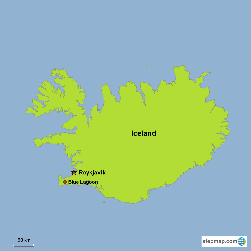 Map of Iceland in Europe