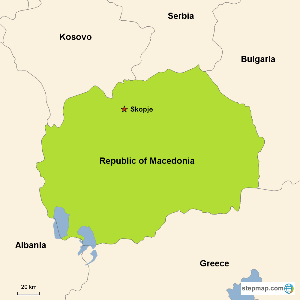 Map of Macedonia in Europe