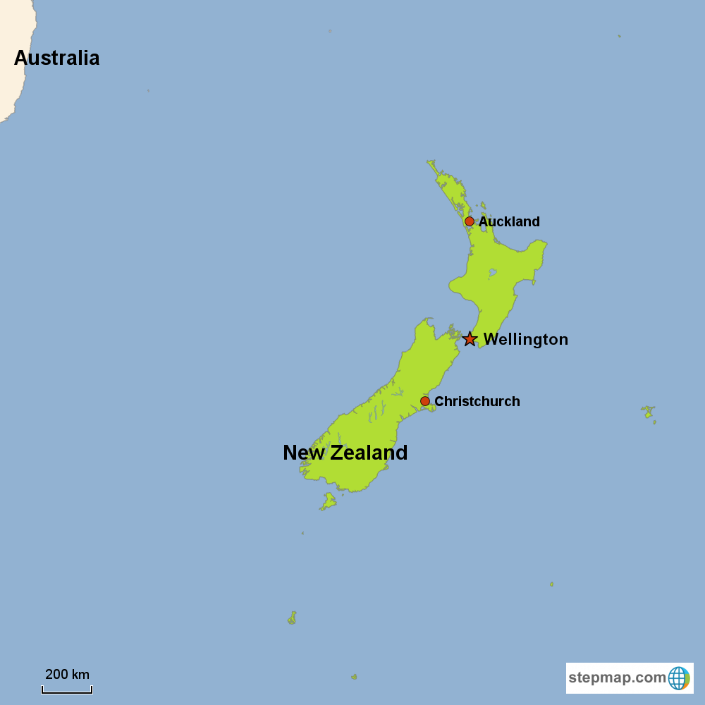 Map of New Zealand in the South Pacific