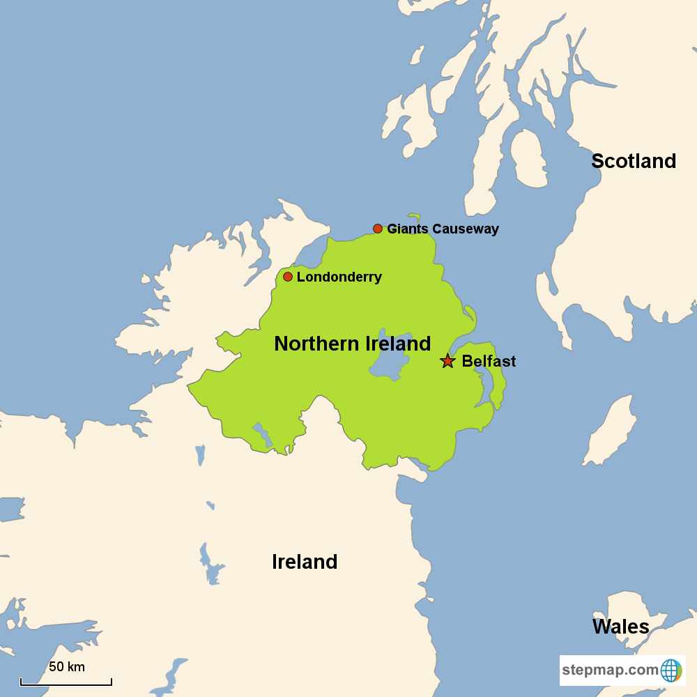 Map of Northern Ireland in Europe