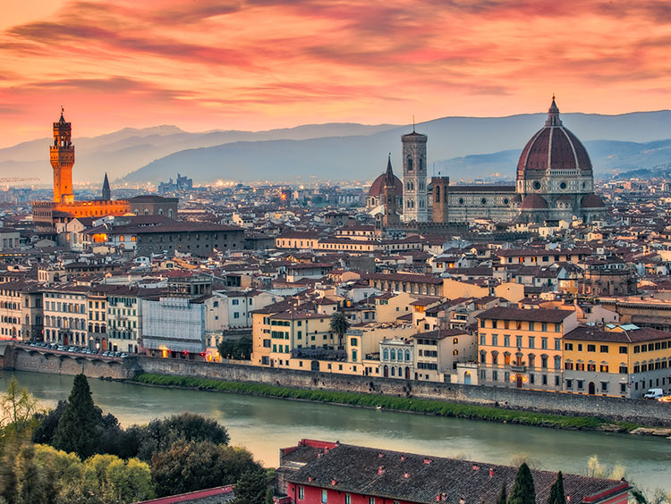 Aerial view of Florence, Italy at sunset
